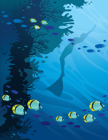 free diver: School of butterfly-fish and silhouette of freediver swimming near wall of coral reef.  Seascape illustration of underwater sport. Deep blue sea. Illustration
