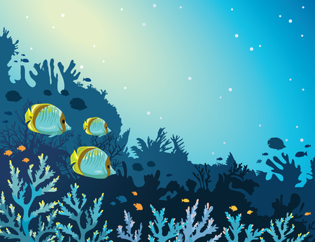 Three yellow butterfly-fish and coral reef on a blue sea background. Seascape vector illustration of underwater marine life.