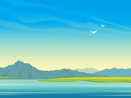 Natural landscape with calm lake, mountains and birds on a blue sky. Vector summer illustration. Wild nature.
