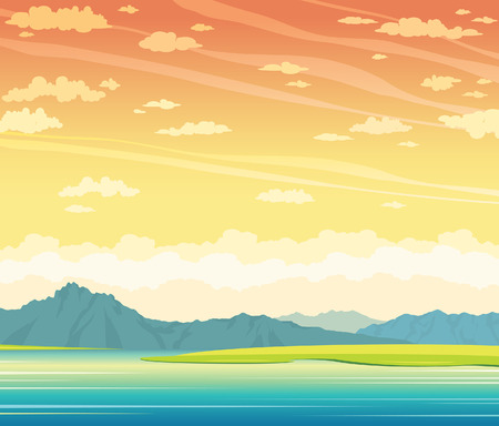 sunset lake: Summer landscape with calm lake and mountains on a cloudy sunset sky. Natural vector illustration. Wild nature. Illustration