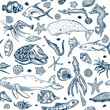 Cartoon seamless pattern with underwater creatures on a white background. Vector wallpaper of sea animal - seashells, fish, whale, seahorse, tuna, butterfly fish, calmar, squid. Illustration