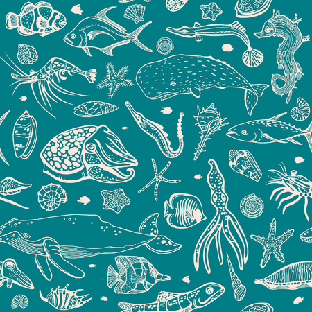calmar: Vector wallpaper of sea animal - seashells, fish, whale, seahorse, tuna, butterfly fish, calmar, squid. Cartoon seamless pattern with underwater creatures on a blue background.