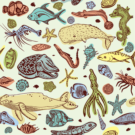 calmar: Cartoon seamless pattern with underwater creatures. Vector background of bolorful sea animal - seashells, fish, whale, seahorse, tuna, butterfly fish, calmar, squid. Illustration