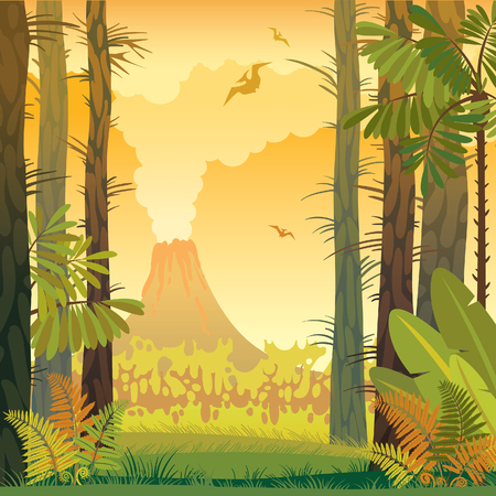 alpine plants: Natural prehistoric vector illustration. Wild landscape with volcano, trees and fern.