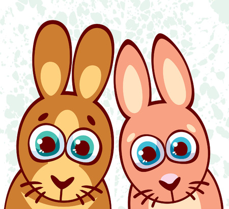 animal eyes: Two cartoon surprisingly rabbits with big blue eyes. Vector illustration with animal family. Illustration