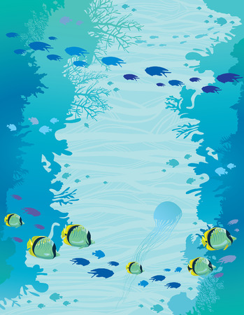 school: Wall of coral reef and school of butterfly-fish on a blue sea background. Seascape vector illustration. Underwater marine life.