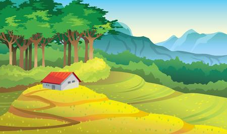 Natuurlijke zomer vector illustratie. Cartoon landelijk landschap met geel veld, groen bos, bergen en huis.