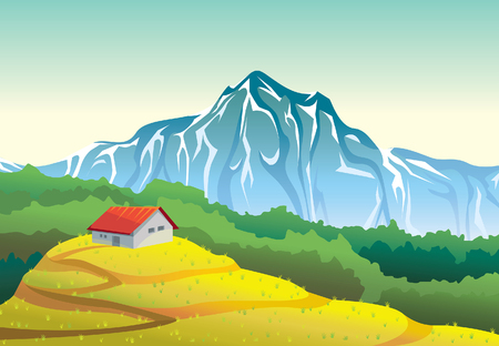 yellow landscape: Summer mountain landscape with house, yellow field and forest. Vector natural illustration.