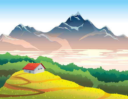 mountain meadow: Mountain landscape with yellow meadow, forest and house. Natural summer vector illustration. Wilderness life.