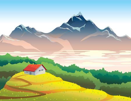 vida natural: paisaje de montaña con el prado amarillo, bosque y la casa. ilustración vectorial verano natural. vida en el desierto. Vectores