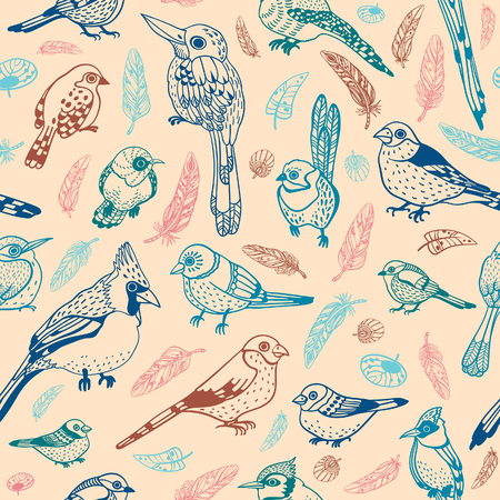 Seamless pattern with catoon birds on pink background. Vector graphic illustration. Wallpaper with feathered race.