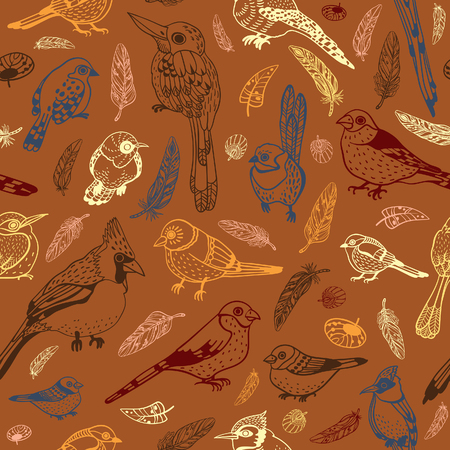 brawn: Vector seamless pattern with different grphic birds on a brown background. Animal wallpaper with feathered race.