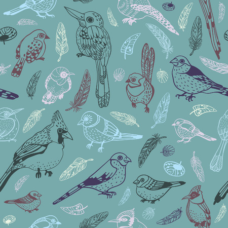 feathered: Vector seamless pattern with different graphic birds on a gray background. Wallpaper with feathered race.