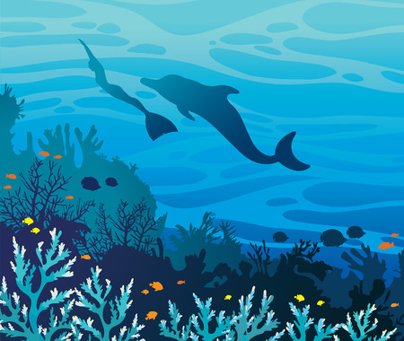 breathless: Blue coral reef with fishes and silhouette of freediver in monofin and dolphin on a sea background. Underwater vector illustration. Funny freediving.