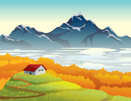 fog forest: Mountain landscape at autumn morning. Natural vector illustration with house, orange forest, fog and green field. Illustration