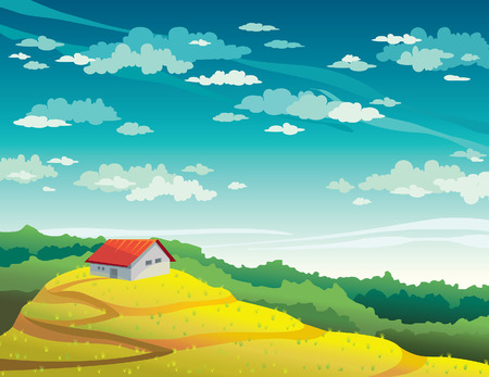 field and sky: Summer landscape with house, yellow field and forest on a blue cloudy sky. Natural vector illustration.
