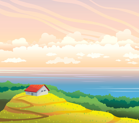 field and sky: Summer landscape with house, yellow field and blue sea on a cloudy sunset sky. Natural vector illustration. Wilderness life. Illustration