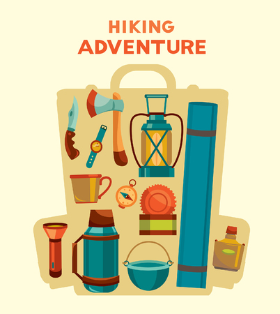 wristlet: Hiking adventure. Vector illustration with set of camping equipment in the backpack.