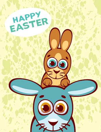 surprisingly: Vector card of happy easter with funny rabbit family. Two cartoon rabbits with big eyes.