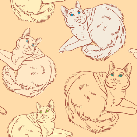 cat eye: Seamless pattern with graphic cats on the orange background. Vector line sketch. Animal wallpaper.