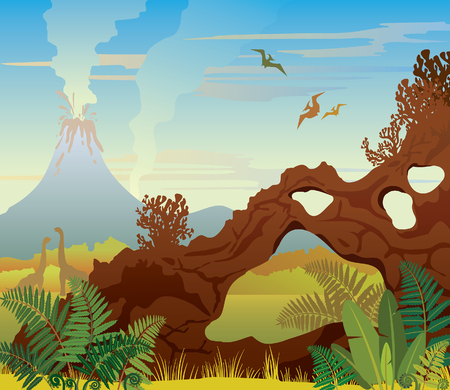 pterodactyl: Prehistoric landscape - volcano with smoke, green grass, dinos and natural stone arch. Vector illustration.