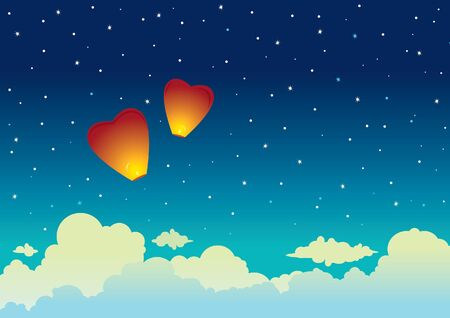 red sky: Cartoon red sky lanterns on a night starry background. Vector illustration.