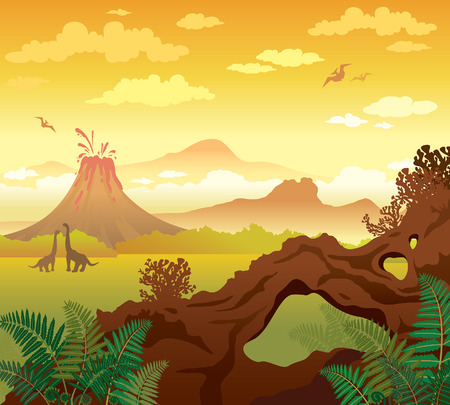 Prehistoric landscape - volcano with lava, mountains, dinosaurs and natural stone arch with fern. Vector natural illustration. Illustration