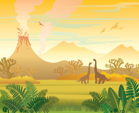 pterodactyl: Prehistoric landscape - volcano with smoke, mountains, dinosaurs and fern. Vector natural illustration.