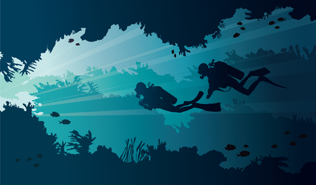 Underwater cave with coral reef and two scuba divers on a blue background. Vector illustration with tropical sea. Stock Illustratie