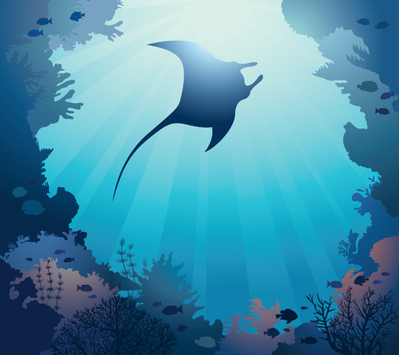 reef: Silhouette of manta and coral reef on a blue sea background. Vector illustration with marine life. Seascape image.