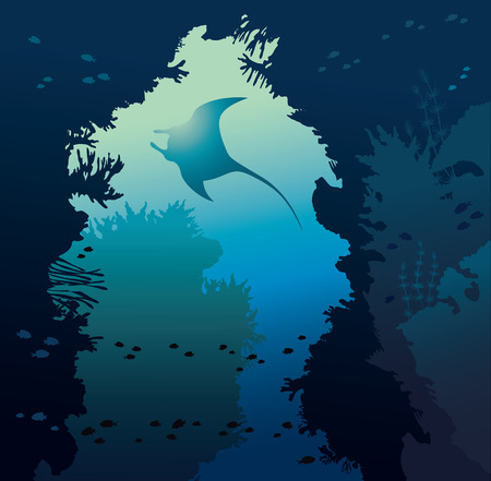 Underwater cave with coral reef and silhouette of manta on a blue background. Vector illustration with tropical sea.Seascape with marine life.