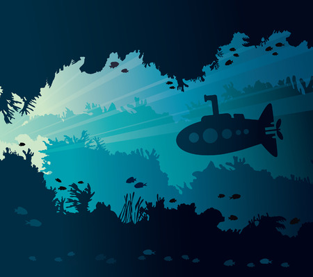 Paisaje marino subacuático con silueta de submarino, arrecife de coral, peces y cueva submarina. Ilustración vectorial natural y vida marina.