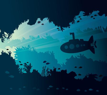 Seascape subacqueo con silhouette di sottomarino, barriera corallina, pesci e grotta subacquea. Illustrazione vettoriale naturale e vita marina.