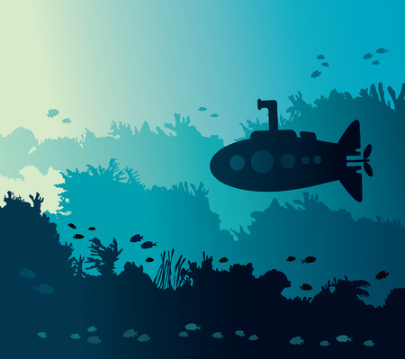 underwater fishes: Sihouette of submarine and coral reef with fishes on a blue sea background. Vector illustration with underwater marine life.