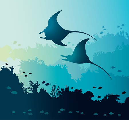 Silhouette of two mantas and coral reef with fishes on a blue sea background. Underwater seascape and marine life. Vector nature illustration.