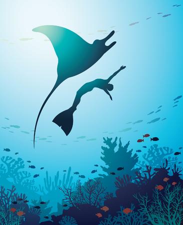 만 타, freediver 및 푸른 바다 배경에 산호초의 실루엣. 해양 생물 벡터 일러스트 레이 션. 수 중 경치 이미지입니다.