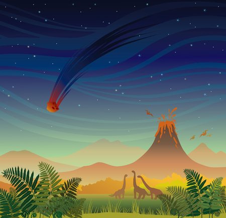 Prehistoric landscape - volcano with lava, falling red meteorite, donosaurs and fern. Vector illustration with night sky and wild nature.