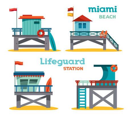 Vector set of cartoon lifeguard stations on a white background. Illustration of symbol Miami beach.