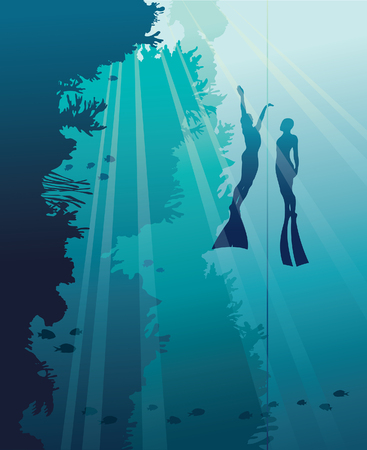 deep sea diver: Silhouette of two free divers and wall with coral reef on a blue ocean background. Underwater vector illustration. Marine life.