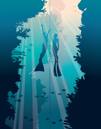 Underwater vector illustration. Silhouette of two freedivers and walls with coral reef on a blue sea.