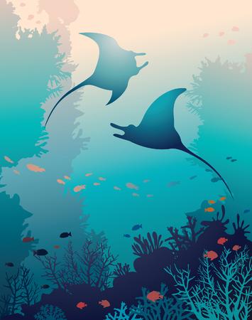 Silhouette von zwei Mantas und Korallenriff mit Fischen auf einem blauen Meer Hintergrund. Unterwasser marine Leben. Vektor natürliche Abbildung.