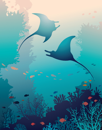vida natural: Silueta de dos mantas y los arrecifes de coral con peces sobre un fondo azul del mar. la vida marina bajo el agua. Vector ilustración natural.
