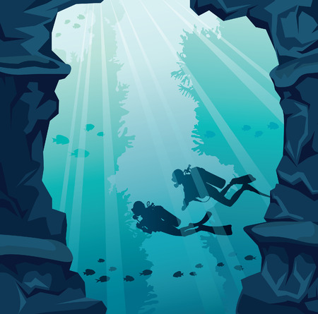 Silhouette of two scuba divers, stone cave and coral reef on a blue sea. Underwater vector illustration.  Marine life. Ilustração