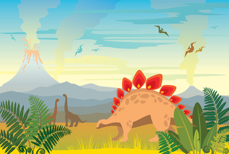 Brontosaurus and green fern. Prehistoric landscape with silhouette of dinos (pterodactyl and diplodocus), volcano, mountains and smoked sea. Vector illustration of extinct animals.