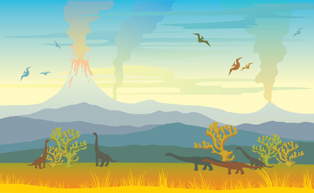 Prehistoric landscape with silhouette of dinos, mountains and volcanos with lava, meadow and yellow grass on a smoked sky. Vector illustration with extinct animal.