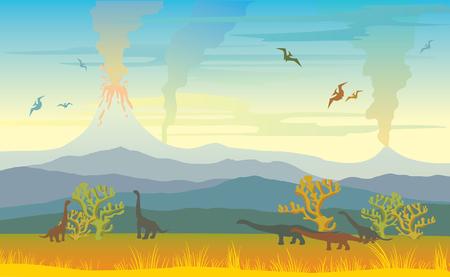 Paisaje prehistórico con silueta de dinos, montañas y volcanes con lava, prado y hierba amarilla en un cielo ahumado. Ilustración de vector con animal extinto.