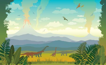 先史時代の野生動物のイラスト。  イラスト・ベクター素材