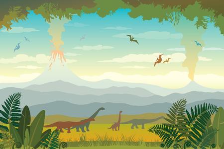 Paisaje de la naturaleza con la silueta de dinos (diplodocus y pterodáctilo), volcanes con lava, montañas azules y hierba verde con helecho. Ilustración de vector con fauna prehistórica. Imagen con animales extintos.