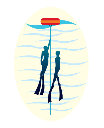 Silhouette of two free divers with rope and red buoy. Underwater sport logo. Illustration