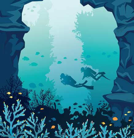 deep sea diver: Underwater marine life. Vector coral reef with stone walls and silhouette of scuba divers on a blue sea. Ocean wildlife illustration. Illustration